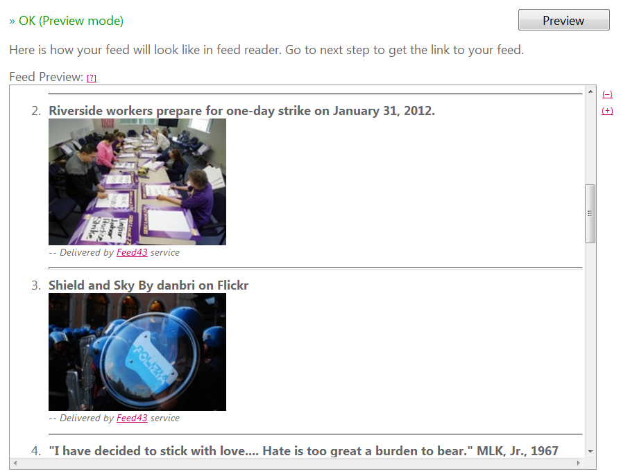 Preview of new Pinterest board RSS feed